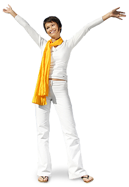 Image of a happy woman with her arms in the air